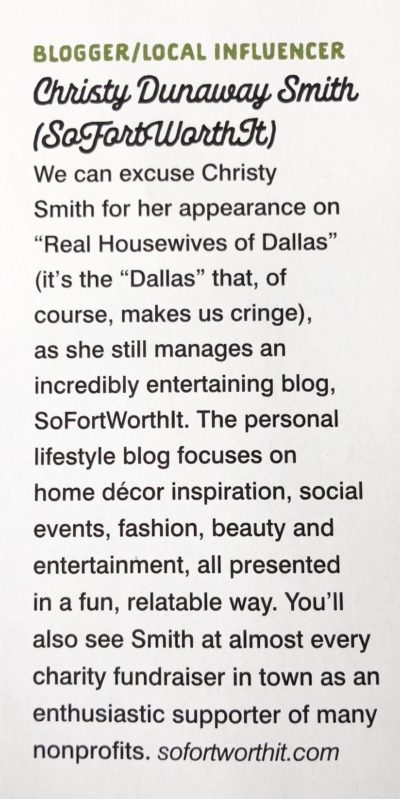 Christy Dunaway Smith Fort Worth Magazine Best Blogger/Local Influencer