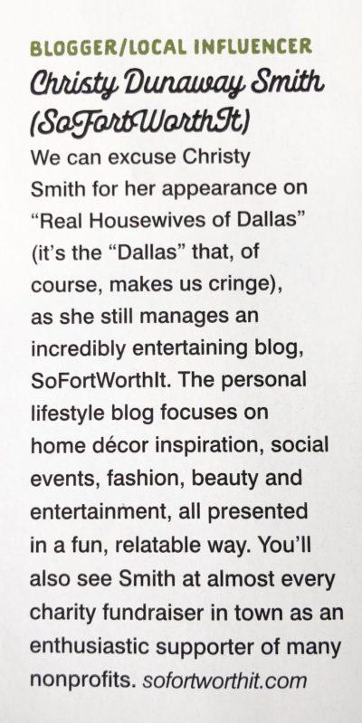 Christy Dunaway Smith Fort Worth Magazine Best Blogger/Local Influencer