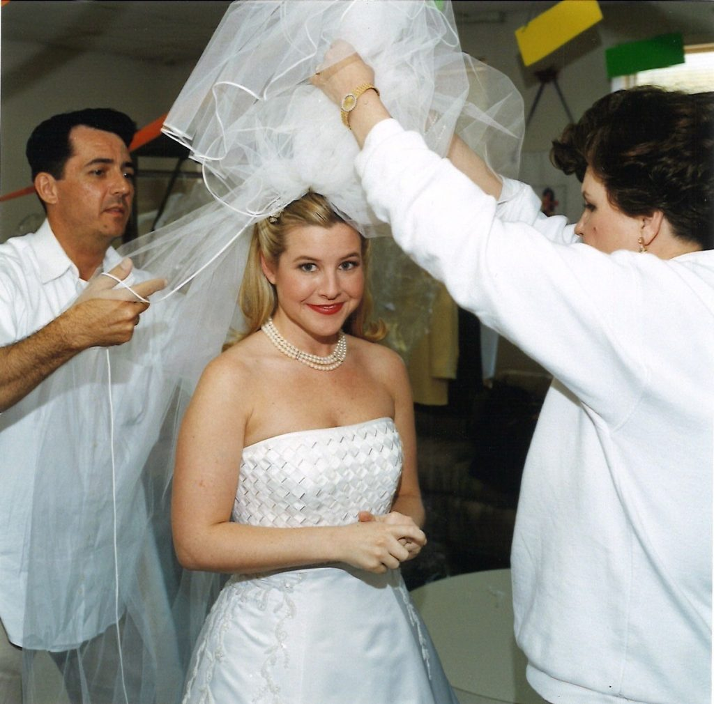 Michael Faircloth and Karin Briggs with Lilly Dodson of Dallas helps Christy Dunaway on her wedding day